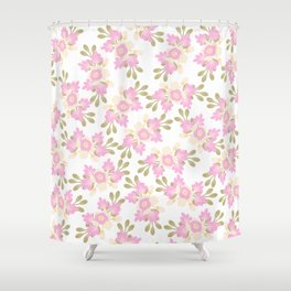 Pink coral green hand painted floral illustration Shower Curtain