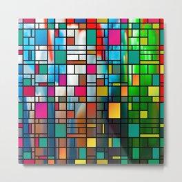 Abstract Modern Art Grid Pattern Metal Print