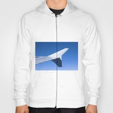 Airplane wing on a blue sky  Hoody