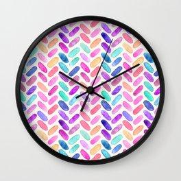 Rainbow Herringbone Watercolor Oblongs Wall Clock