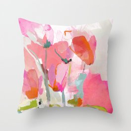 Floral abstract pink art Throw Pillow