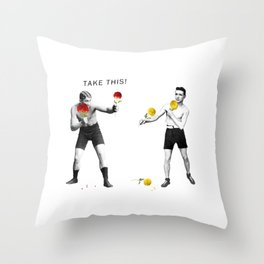 Floral fight - humor Throw Pillow