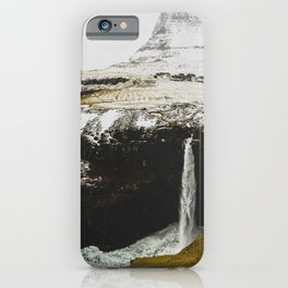 TIME LAPSE PHOTOGRAPHY OF WATERFALL LEADING TO OCEAN iPhone Case