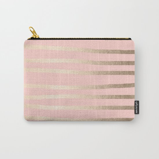 Abstract Drawn Stripes Gold Coral Light Pink by followmeinstead