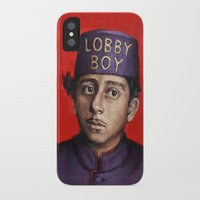 wes anderson iPhone & iPod Cases featuring Lobby Boy / Grand Budapest Hotel / Wes Anderson by Heather Buchanan