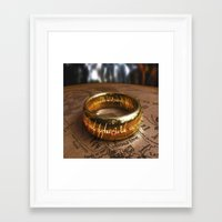 lord of the ring Framed Art Prints featuring RING by aztosaha