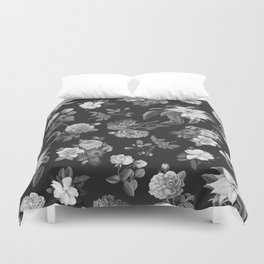 Vintage flowers on black Duvet Cover