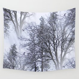 Snowy day in the trees..... Wall Tapestry