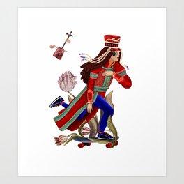 Mongolian lady on skate Art Print