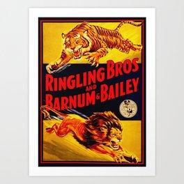 Vintage Circus Poster - Tiger & Lion Art Print