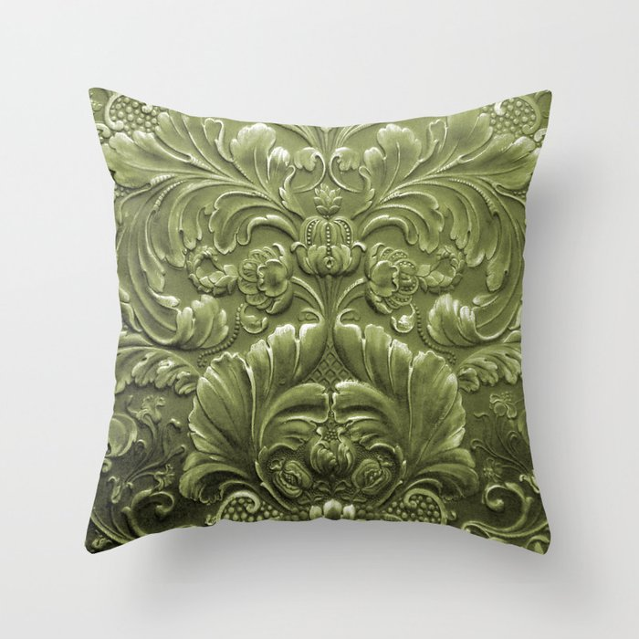 Celery Tooled Leather Throw Pillow