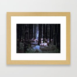 Faces in the Woods mod Framed Art Print