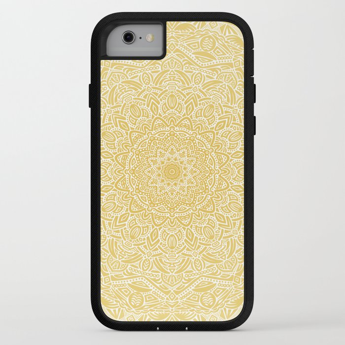 Most Detailed Mandala! Yellow Golden Color Intricate Detail Ethnic Mandalas Zentangle Maze Pattern iPhone Case