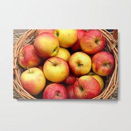 Apples In A Wicker Basket Metal Print