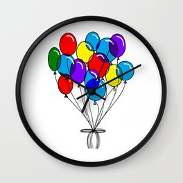 A Bouquet of Multi-Colored Balloons tied in a Bow Wall Clock