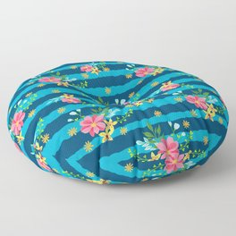 Pink And Yellow Petite Floral Blue Striped Pattern Floor Pillow