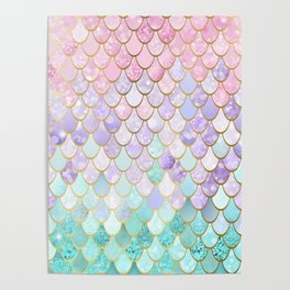 Iridescent Mermaid Pastel and Gold Poster