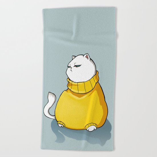 fat cat Beach Towel