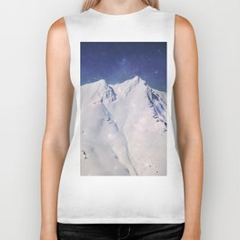 Time Lost - snow capped mountains with blue sky and stars Biker Tank