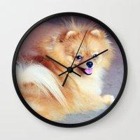 pomeranian Wall Clocks featuring PRECIOUS POMERANIAN by Allyson Johnson