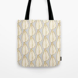 Winter Leaves Grey and Gold Tote Bag