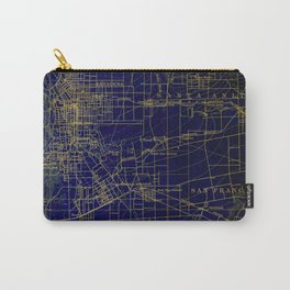 Pasadena antique map year 1896, blue and green artwork Carry-All Pouch