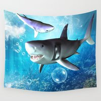 shark Wall Tapestries featuring Shark by nicky2342