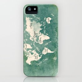 world map 151 green white #worldmap #map iPhone Case