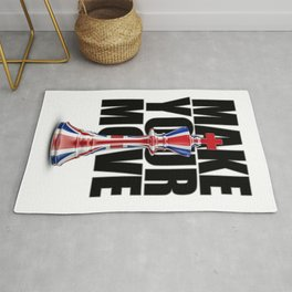 Make Your Move UK / 3D render of chess king with British flag Rug