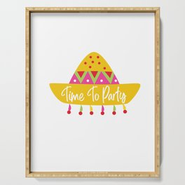 Cinco De Mayo Time To Party Fiesta Sombrero Serving Tray