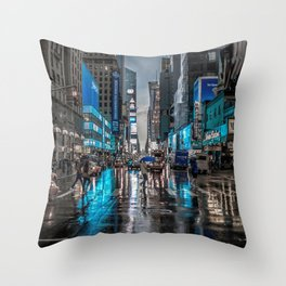 Spectacular Busy New York Manhattan City Street Blue Hue HD Throw Pillow