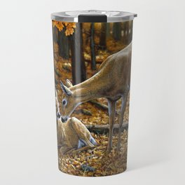 Whitetail Deer and Fawn in Autumn Travel Mug