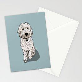 Labradoodle Illustration Blue Background Stationery Cards