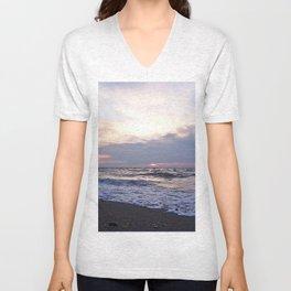 Beach sea-foam sunset Unisex V-Neck