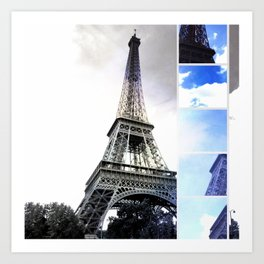 Eiffel Tower Paris in Black and White with Blue Stripe Art Print