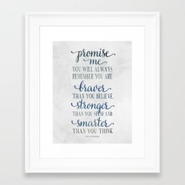 Braver - Christopher Robin Typography Quote.  Framed Art Print