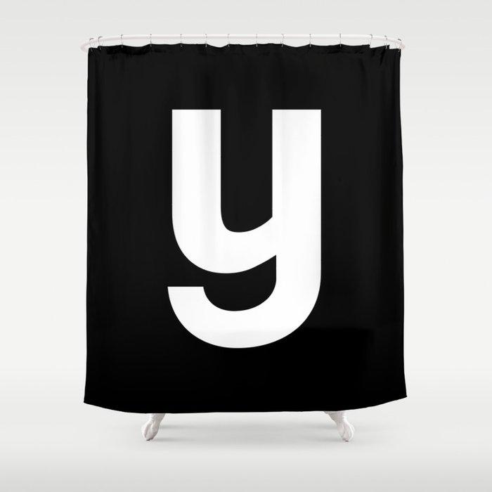 letter Y (White & Black) Shower Curtain