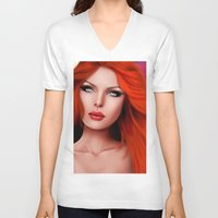 redhead V-neck T-shirts featuring Beautiful RedHead by Rayne Morgan