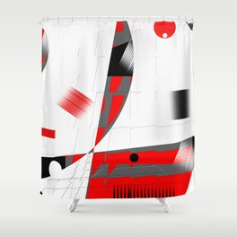 black and white meets red Version 15 Shower Curtain