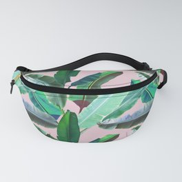 Banana Leaves on Pink Fanny Pack