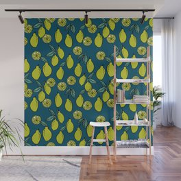 Lemons minimal pastel green pattern print by andrea lauren cute home decor fruit patterns Wall Mural