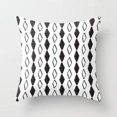 Linocut pattern minimal black and white basic home decor minimalist Throw Pillow