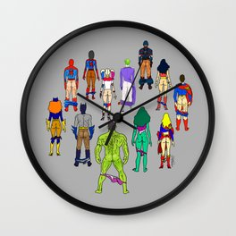 Superhero Butts - Power Couple on Grey Wall Clock