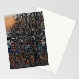 Abstract Sunset Tree Stationery Cards