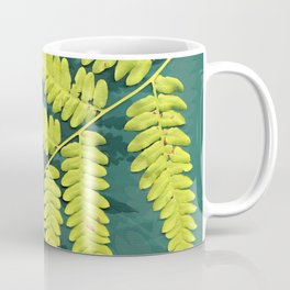 From the forest - lime green on teal Coffee Mug