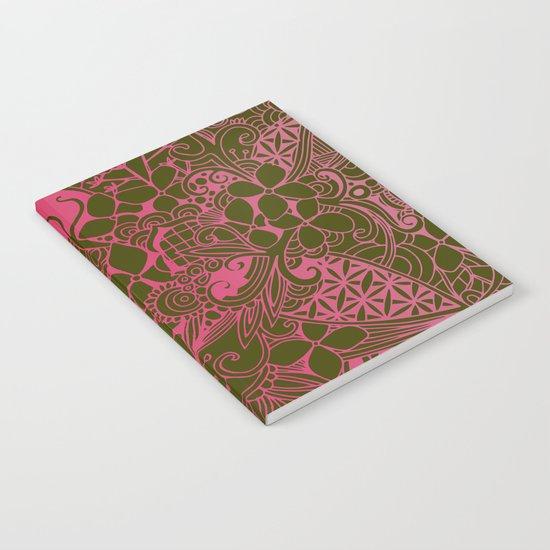 Olive square, pink floral doodle, zentangle inspired art Notebook