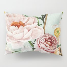 Blue Oval Peonies & Poppies Pillow Sham