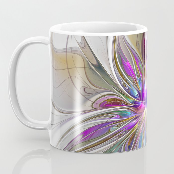 Energetic, Abstract And Colorful Fractal Art Flower Coffee Mug