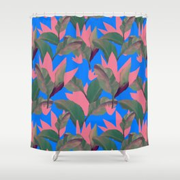 Retro Luxe Lilies Electric Blue Pattern Shower Curtain