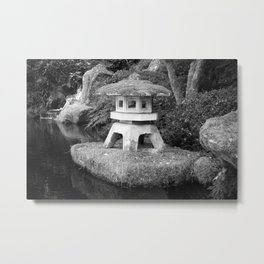 Stone lantern in Japanese Zen Garden Metal Print